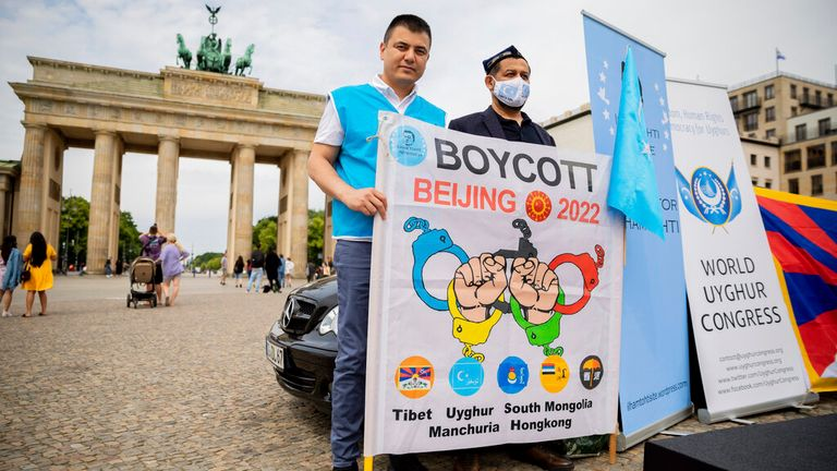 Protestors from various human rights groups calling for a boycott of Beijing 2022.