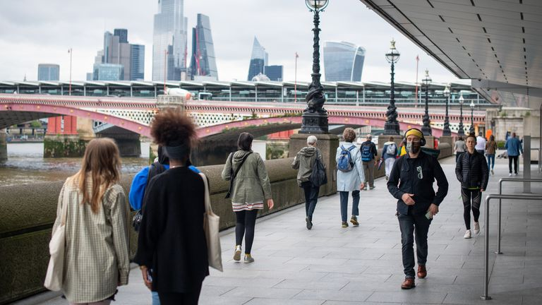 People walking on the South Bank in London