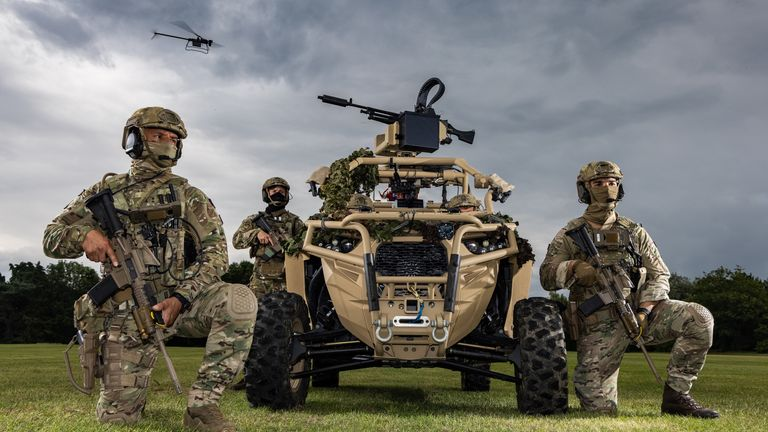 undated handout photo of Royal Marines of 40 Commando with a Ghost drone