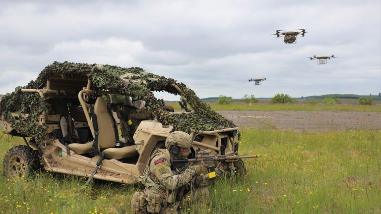 undated handout photo of Royal Marines of 40 Commando using a Malloy TRV150 to deliver supplies onto the battlefield during the Autonomous Advance Force 4.0 exercises at RAF Spadeadam.