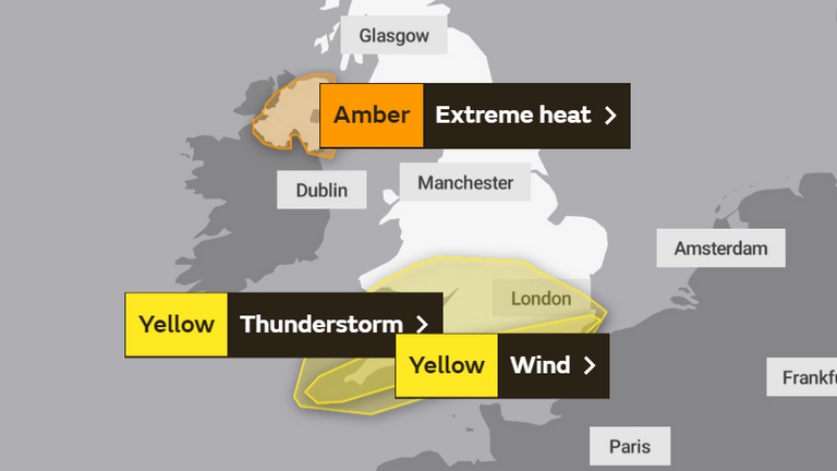 Friday's weather warning. Pic: The Met Office