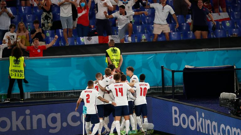 England players and fans celebrate taking a 3-0 lead