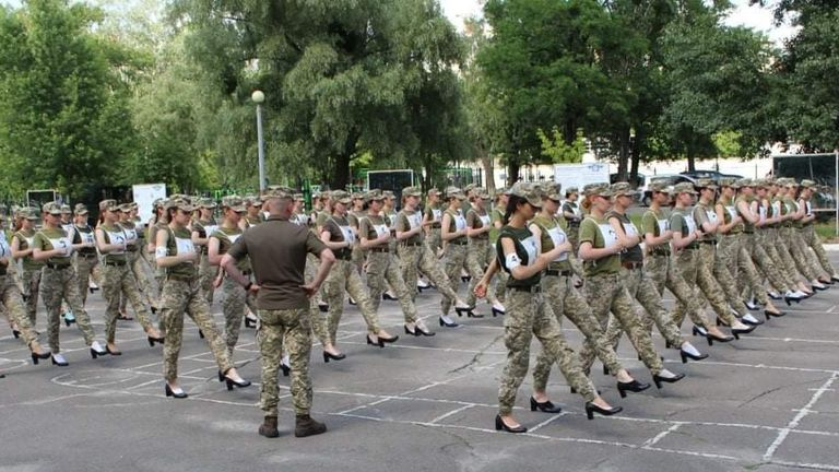 Female soldiers take part in a military parade rehearsal while wearing heels. Pic: Ministry of Defence, Ukraine