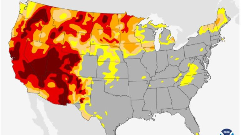 The below map shows the extreme drought in the western US. Map: ClimateGov