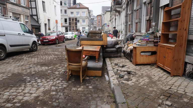 The Belgian city of Verviers, near Liege, was hit by the floodwaters