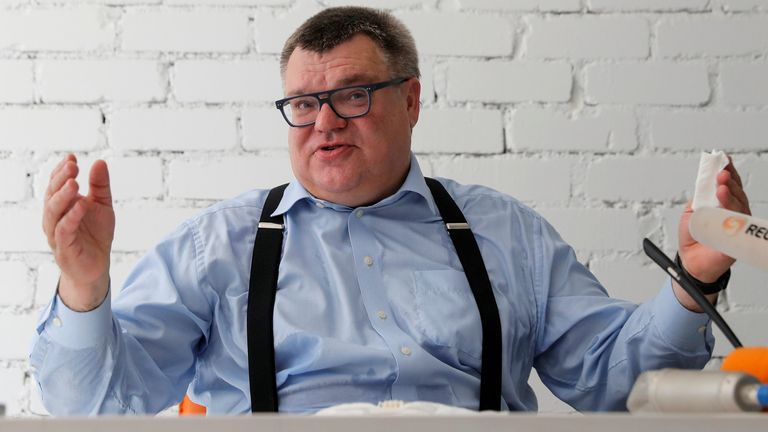 FILE PHOTO: Challenger in the upcoming presidential election Viktor Babariko, who resigned as head of Belgazprombank to launch his bid for the presidency, attends a news conference in Minsk, Belarus June 11, 2020. Picture taken June 11, 2020. REUTERS/Vasily Fedosenko/File Photo