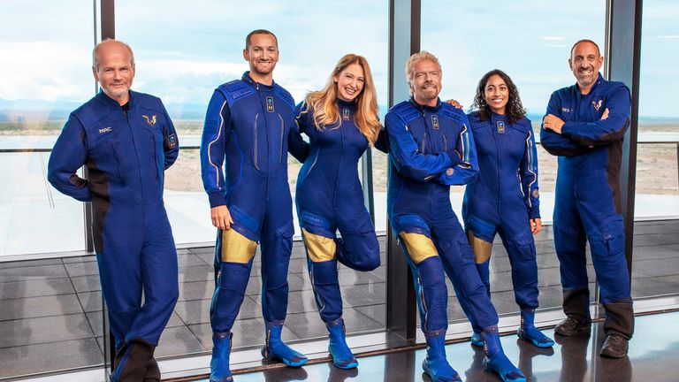 Unity 22 Crew (L-R) Dave Mackay, Chief Pilot, Colin Bennett, Lead Operations Engineer, Beth Moses, Chief Astronaut Instructor, Richard Branson, Founder Virgin Galactic. Sirisha Bandla, Vice President of Government Affairs and Research Operations. Michael Masucci, Pilot