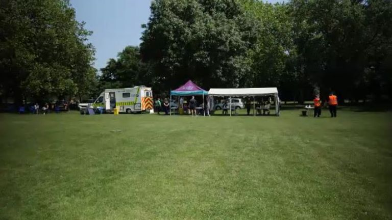 A pop-up clinic in Wandsworth Common, south London
