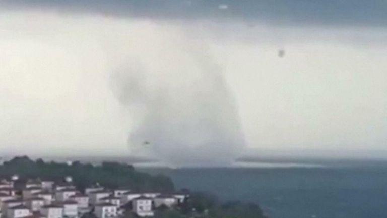 Huge waterspout swirls off Black Sea coast of Turkey