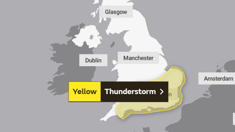 Sunday's weather warning. Pic: The Met Office
