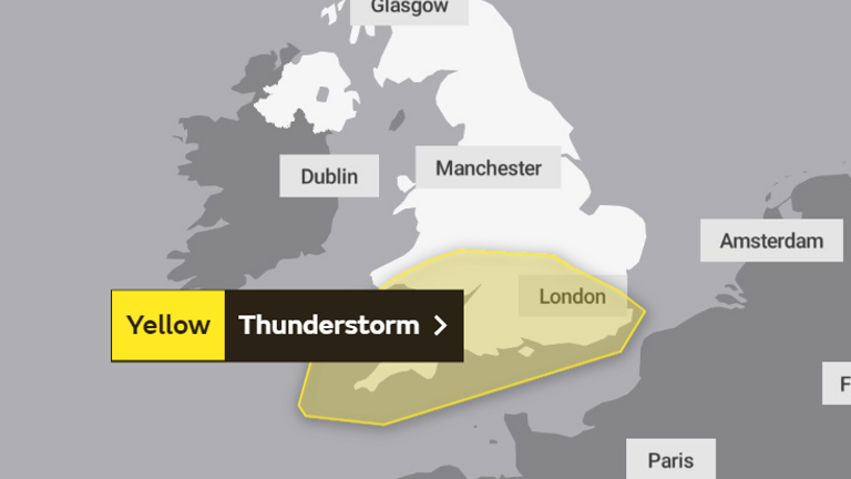 Saturday's weather warning. Pic: The Met Office