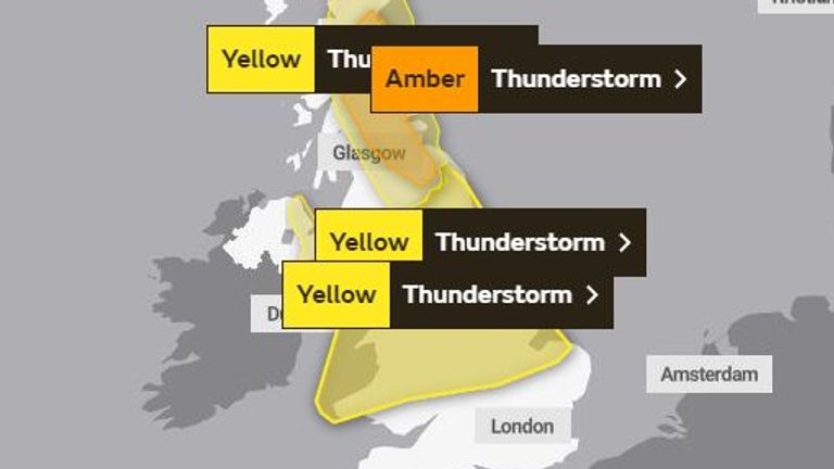 Weather warnings for Tuesday