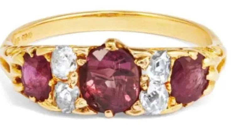 A ruby and diamond eternity band similar to that of an elderly woman's, that was stolen from her finger in at Broomfield Hospital in Chelmsford, Essex, where she died.