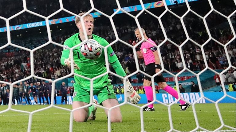 England's Jordan Pickford during the penalty shootout against Italy