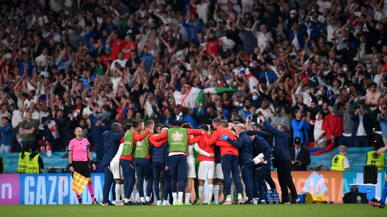 England team huddle during extra-time