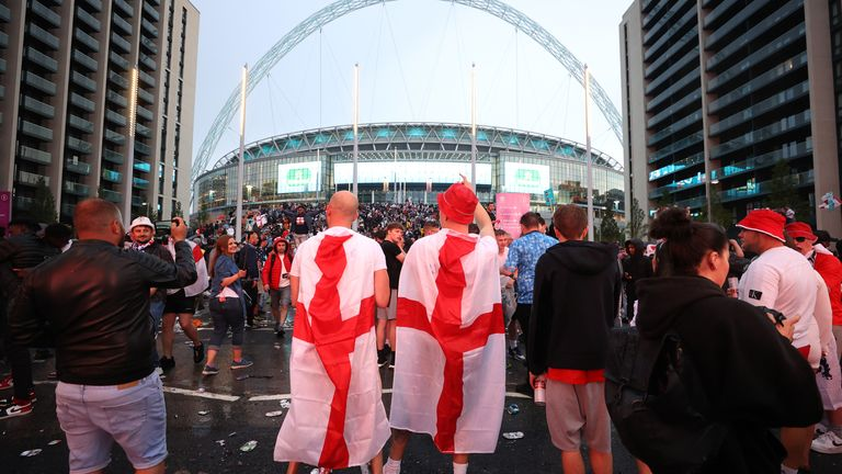 Soccer Football - Euro 2020 - Final - Fans gather for Italy v England - Wembley Stadium, London, Britain - July 11, 2021 England fans react while watching the match outside Wembley Stadium Action Images via Reuters/Lee Smith