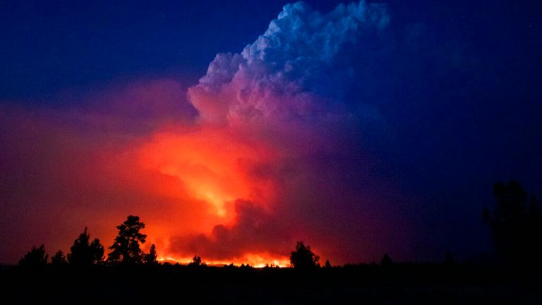 The Bootleg Fire in southern Oregon pictured on Wednesday Pic: AP