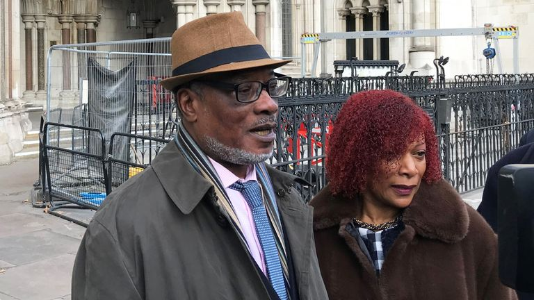 Winston Trew and his wife Hyacinth, outside the Royal Courts of Justice in London after his conviction was overturned by senior judges. Trew, along with Sterling Christie and George Griffiths, was convicted nearly 50 years ago of attempted theft and assaulting police on the evidence of a corrupt police officer. The three men have finally had their names cleared by senior judges. PA Photo. Picture date: Thursday December 5, 2019. See PA story COURTS OvalFour. Photo credit should read: Sam Tobin/PA Wire