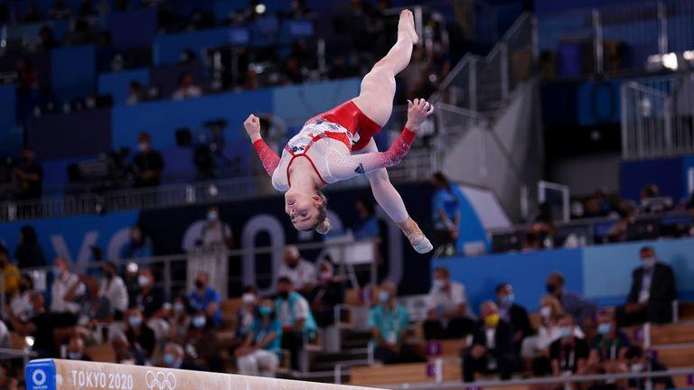 Tokyo 2020 Olympics - Gymnastics - Artistic - Women's Team - Final - Ariake Gymnastics Centre, Tokyo, Japan - July 27, 2021. Alice Kinsella of Britain in action on the balance beam REUTERS/Mike Blake