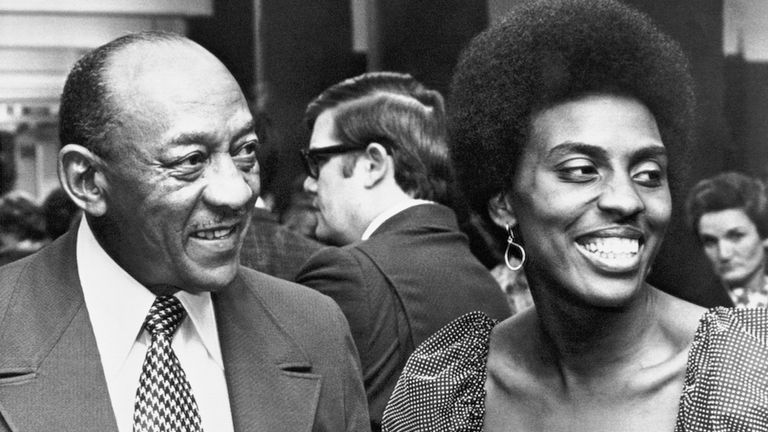 Jesse Owens and Tyus at the Tennessee Sports Hall of Fame banquet in 1973