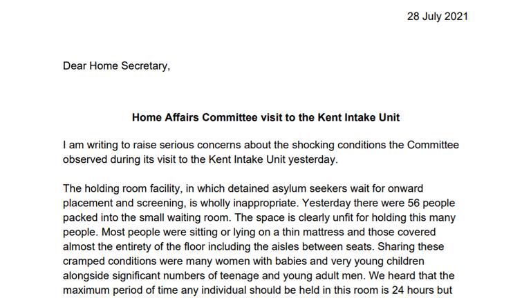 Letter from Yvette Cooper to the home secretary