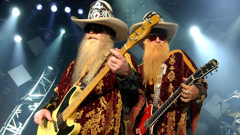 Dusty Hill (L) and Billy Gibbons (R) of ZZ Top playing the 2003 Montreux Jazz Festival
