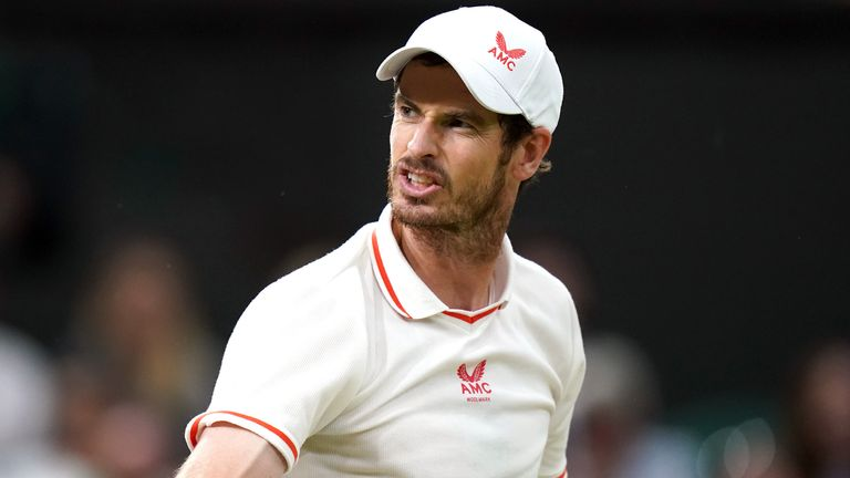 Andy Murray reacts during his third round match against Denis Shapovalov on day five of Wimbledon at The All England Lawn Tennis and Croquet Club, Wimbledon. Picture date: Friday July 2, 2021.