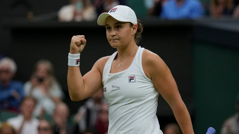 Asheligh Barty reached the Wimbledon semi-finals for the first time with victory over fellow Australian Ajla Tomljanovic (AP)