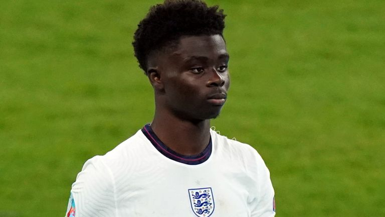 Bukayo Saka was one of three England players to be targeted on social media with racist abuse after the Euro 2020 final