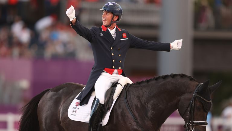 TOKYO, JAPAN - JULY 27: Carl Hester of Team Great Britain riding En Vogue reacts in the Dressage Team Grand Prix Special Team Final on day four of the Tokyo 2020 Olympic Games at Equestrian Park on July 27, 2021 in Tokyo, Japan. (Photo by Julian Finney/Getty Images)