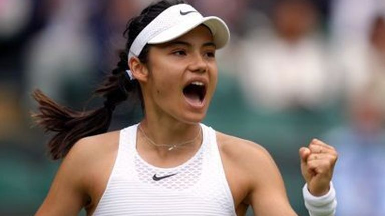 Emma Raducanu reacts during her Ladies' Singles third round match against Sorana Cirstea on day six of Wimbledon at The All England Lawn Tennis and Croquet Club, Wimbledon. Picture date: Saturday July 3, 2021.