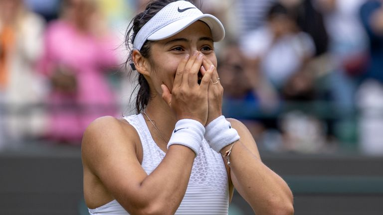 Emma Raducanu celebrates her straight sets victory against Sorana Cirstea in the third round of the Ladies' Singles on day six of Wimbledon at The All England Lawn Tennis and Croquet Club, Wimbledon. Picture date: Saturday July 3, 2021.