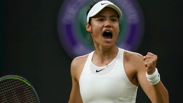 Emma Raducanu celebrates a point against Ajla Tomljanovic in their Women's Singles Round of 16 match on day seven of Wimbledon at The All England Lawn Tennis and Croquet Club, Wimbledon. Picture date: Monday July 5, 2021.