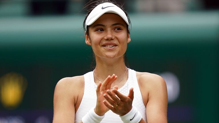 Emma Raducanu celebrates winning her Ladies' Singles third round match against Sorana Cirstea on day six of Wimbledon at The All England Lawn Tennis and Croquet Club, Wimbledon. Picture date: Saturday July 3, 2021.