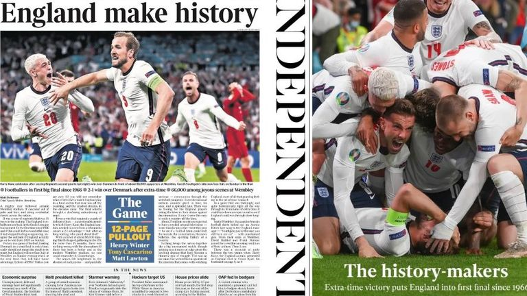England are hailed as 'history-makers' in Thursday's papers