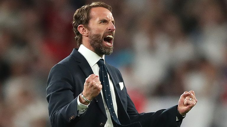 England manager Gareth Southgate celebrates reaching the final after the UEFA Euro 2020 semi final match at Wembley Stadium, London. Picture date: Wednesday July 7, 2021.