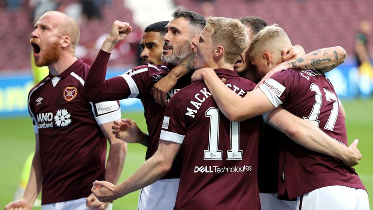 Gary Mackay-Steven is mobbed by his Hearts team-mates after opening the scoring against Celtic