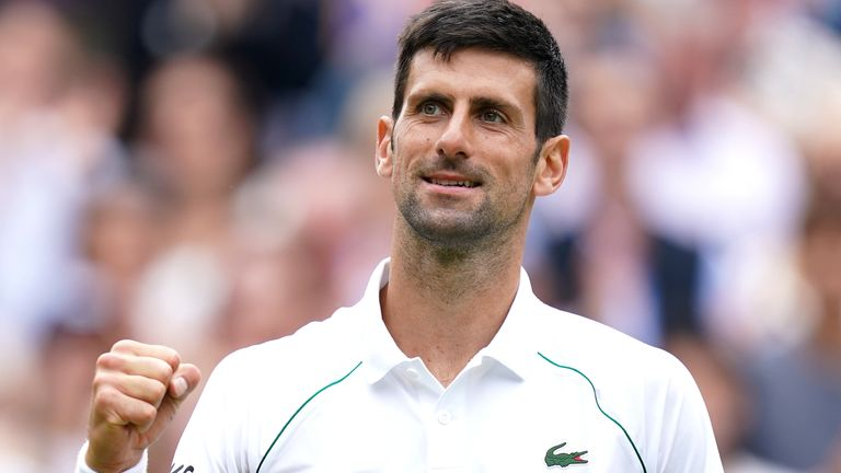 Novak Djokovic celebrates winning against Marton Fucsovics in the quarter-final men's single match on centre court on day nine of Wimbledon at The All England Lawn Tennis and Croquet Club, Wimbledon. Picture date: Wednesday July 7, 2021.
