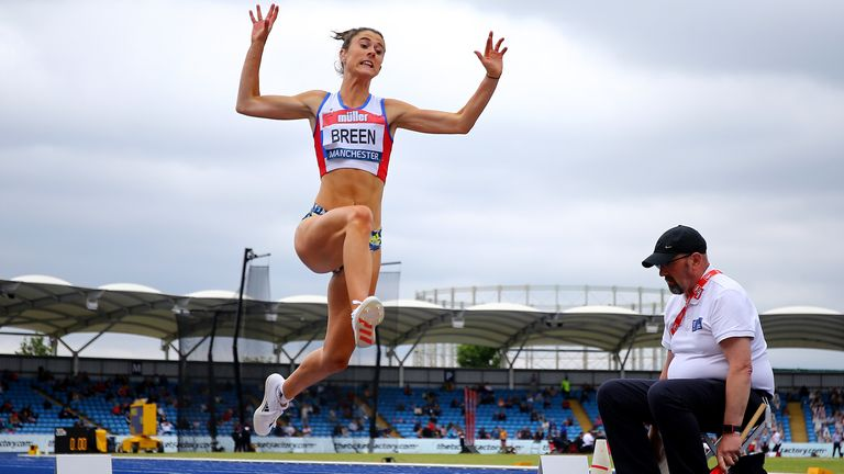 Olivia Breen competing in the women's long jump final at the British Athletics Championships back in June