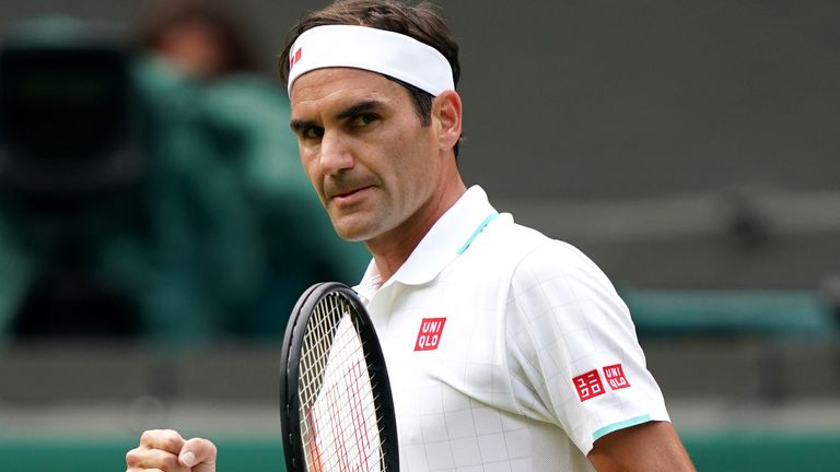 Roger Federer celebrates winning the first set in the second round men's singles match against Richard Gasquet on centre court on day four of Wimbledon at The All England Lawn Tennis and Croquet Club, Wimbledon. Picture date: Thursday July 1, 2021.