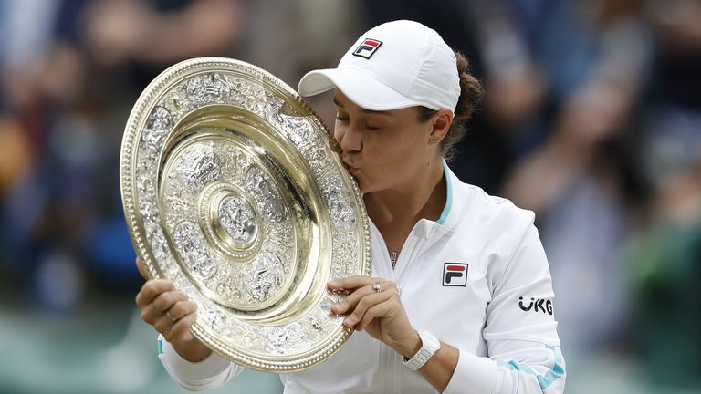 Ash Barty has won Wimbledon for the first time after a three-set victory over Karolina Pliskova