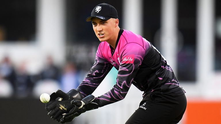 Tom Banton of Somerset gathers the ball during the Vitality T20 Blast match between Somerset and Hampshire at The Cooper Associates County Ground on June 25, 2021 in Taunton, England