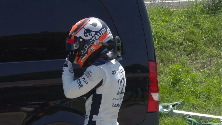 Yuki Tsunoda's problems continue in this rookie season as he goes into the wall, temporarily red-flagging the FP1.