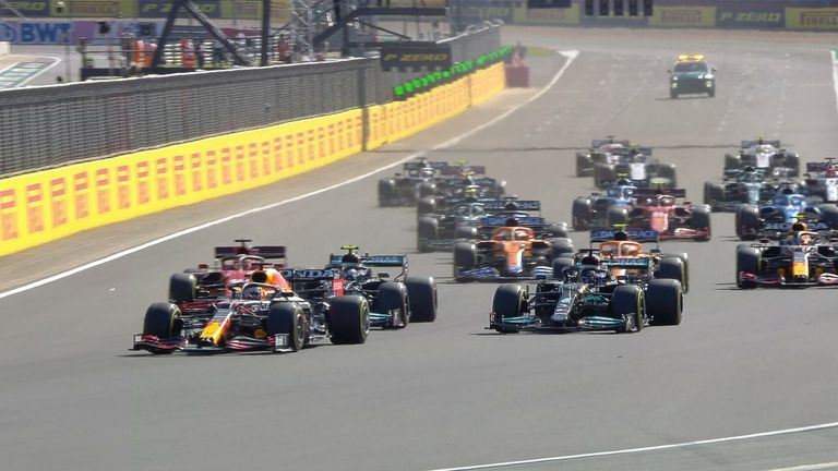 Max Verstappen flies off the start, passing Lewis Hamilton on the opening lap of the Sprint