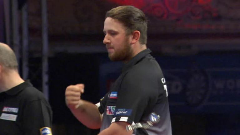 Callan Rydz celebrated a little too hard after winning a leg during his first-round match at the World Matchplay and sent his watch flying in the process!