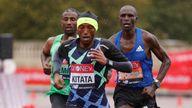 Athletics - London Marathon - London, Britain - October 4, 2020 Ethiopia's Shura Kitata during the elite men's race Pool via REUTERS/John Sibley