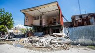 A view shows a house destroyed following a 7.2 magnitude earthquake in Les Cayes, Haiti August 14, 2021. REUTERS/Ralph Tedy Erol