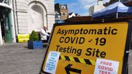 London,UK- May 10, 2021:  The sign of   asymptotic covid-19 testing site on the street of London.