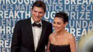 Ashton Kutcher and Mila Kunis arrive at the 6th annual Breakthrough Prize Ceremony at the NASA Ames Research Center on Sunday, December 3, 2017 in Mountain View, California. (Photo by Peter Barreras/Invision/AP)