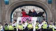 Protesters caused disruption in London on Bank Holiday Monday by blocking Tower Bridge